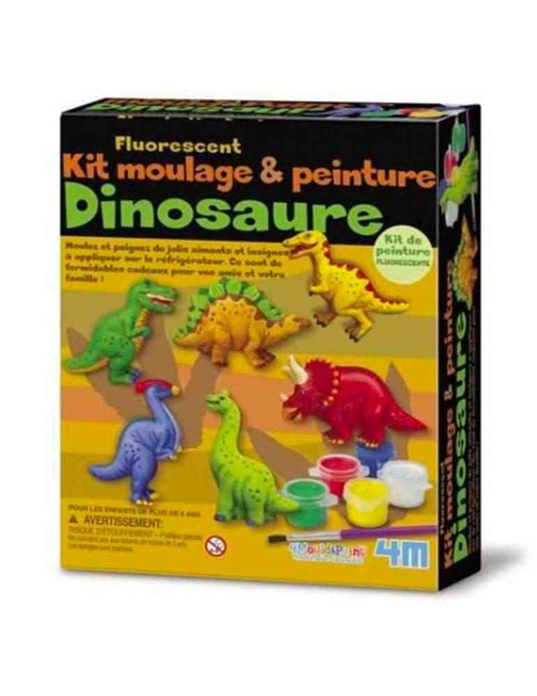 Boite Kit de moulage dinosaures magnets fluorescents - 4M - Jeu créatif