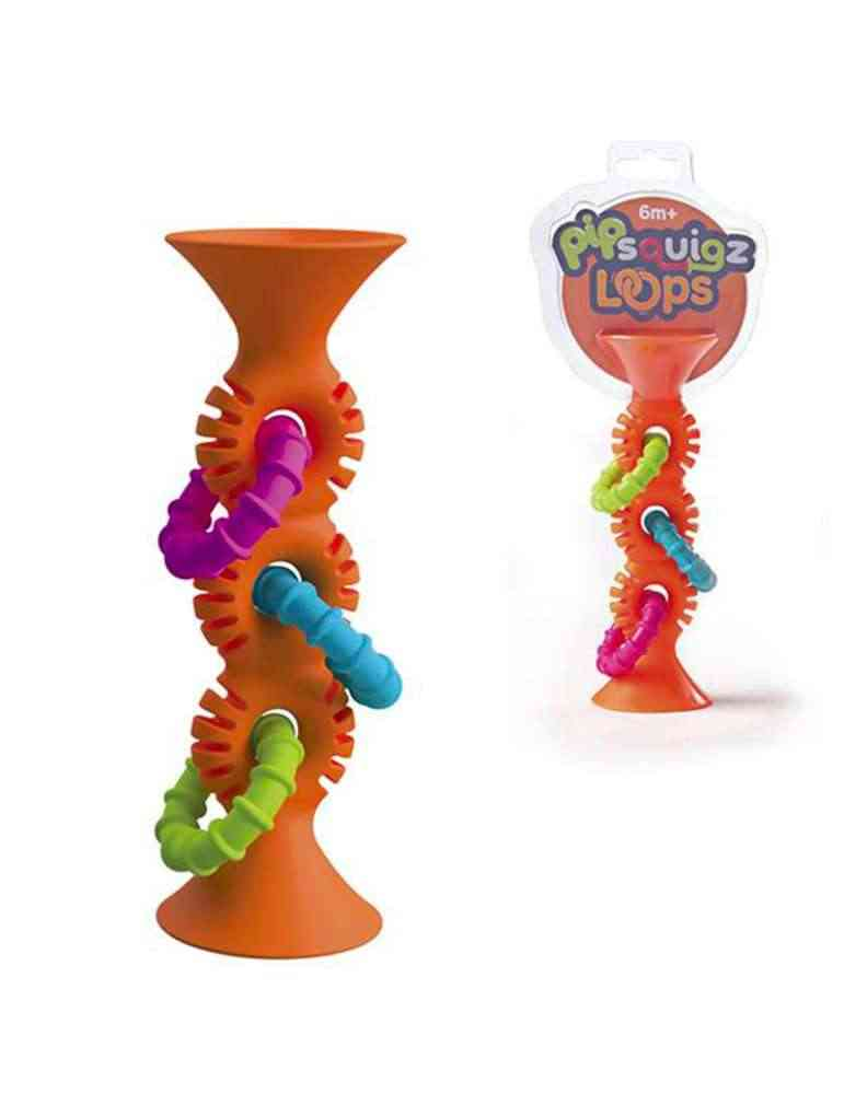 Hochet Pip Squigs Loops orange - Fat Brain Toys - Jeu d'éveil