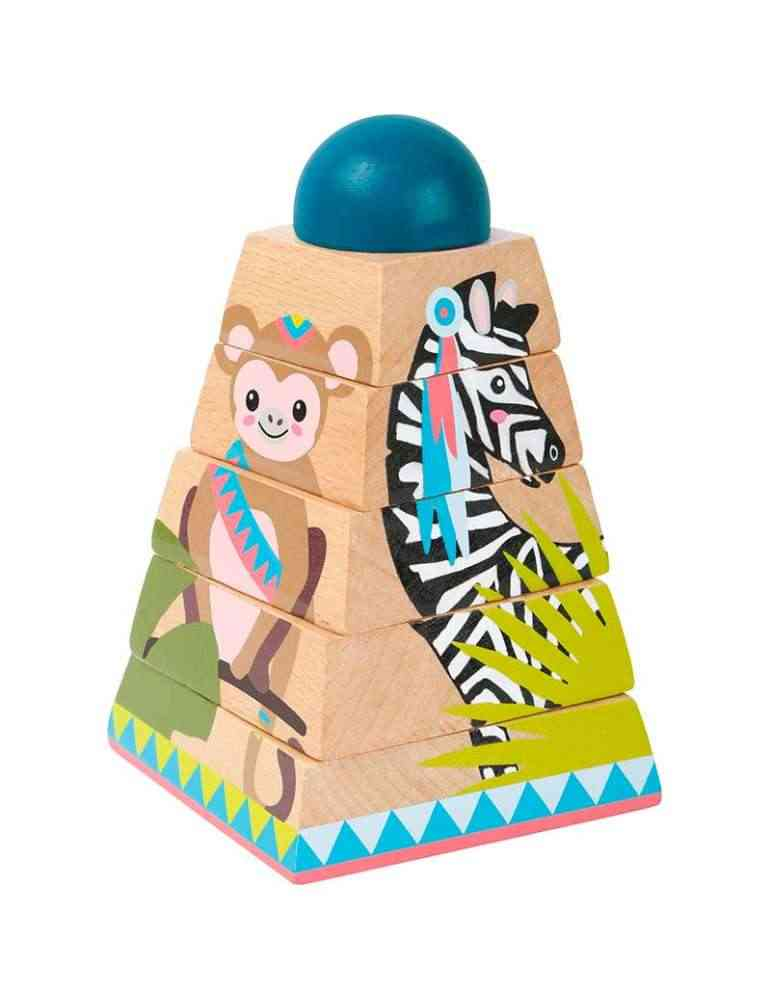 Pyramide à empiler jungle - Small Foot - jeu d'éveil montessori