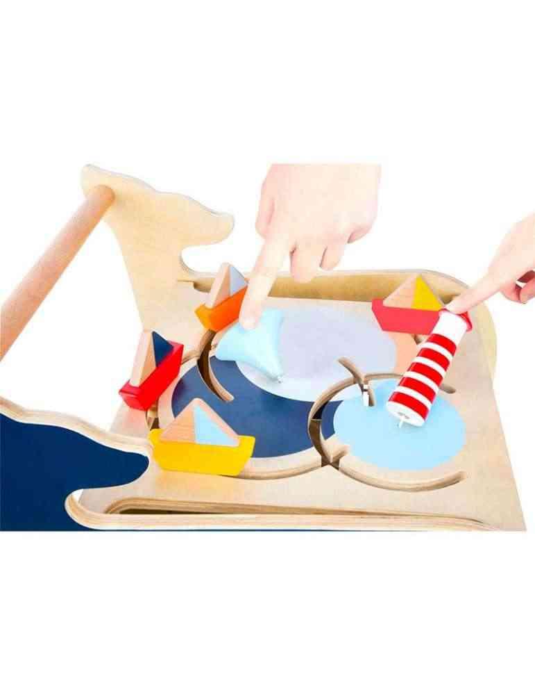 Chariot de marche baleine en bois - jeu d'éveil