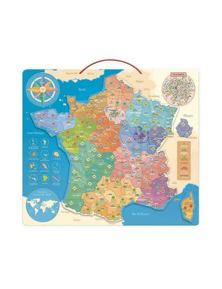 Carte de France Éducative - Vilac - Jouet en Bois Magnétique