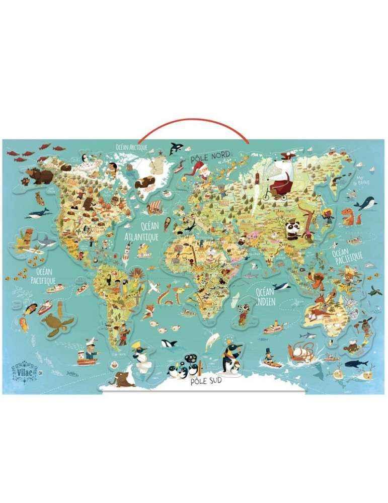 Carte du Monde Fantastique Magnétique- Vilac - Jouet en Bois Aimanté-
