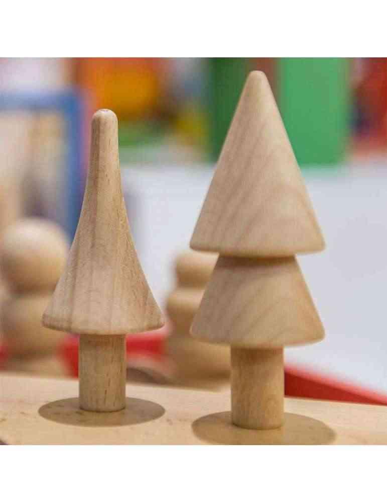 Arbres de la forêt en bois naturel Montessori