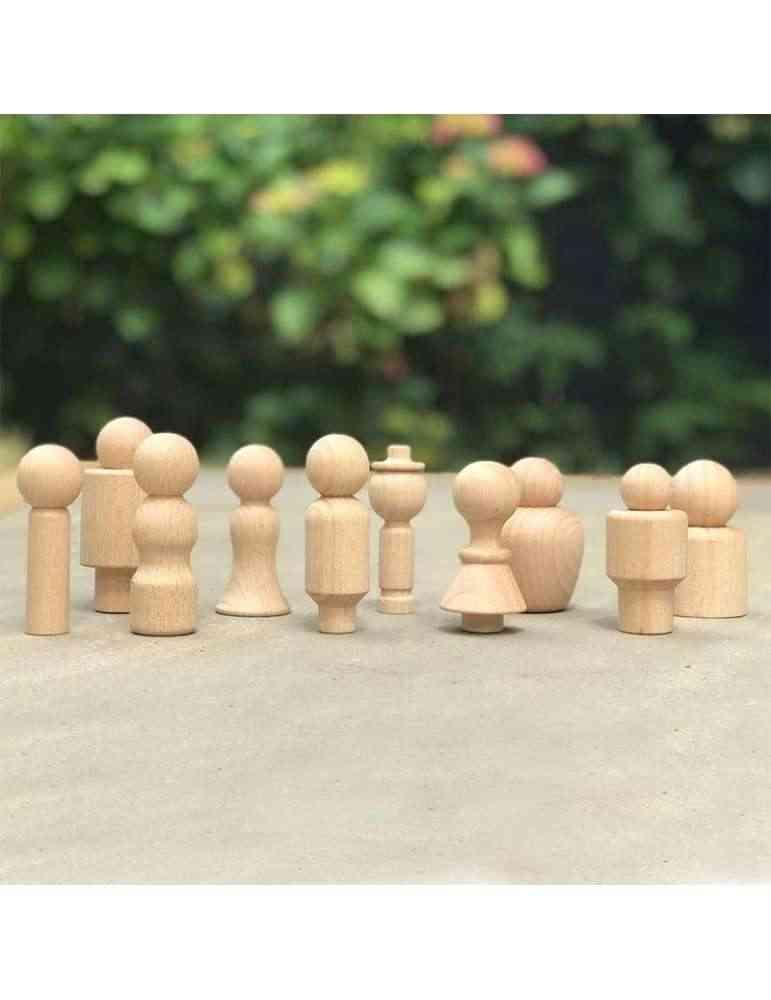 Personnages Peg Dolls bois naturel Montessori
