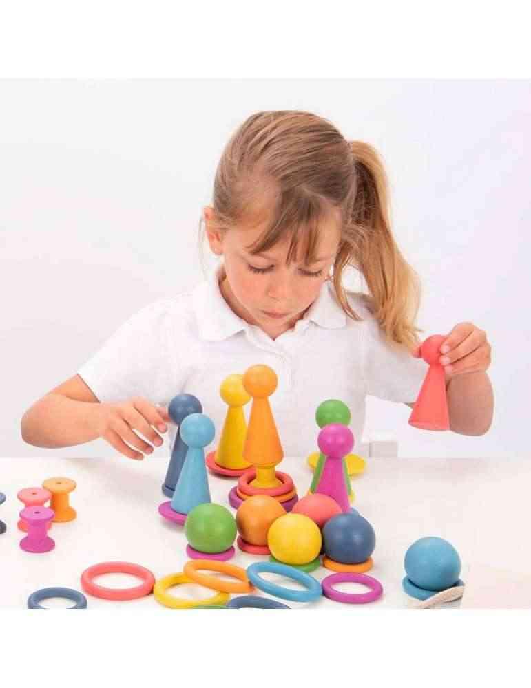 Figurines Peg Dolls arc en ciel Montessori