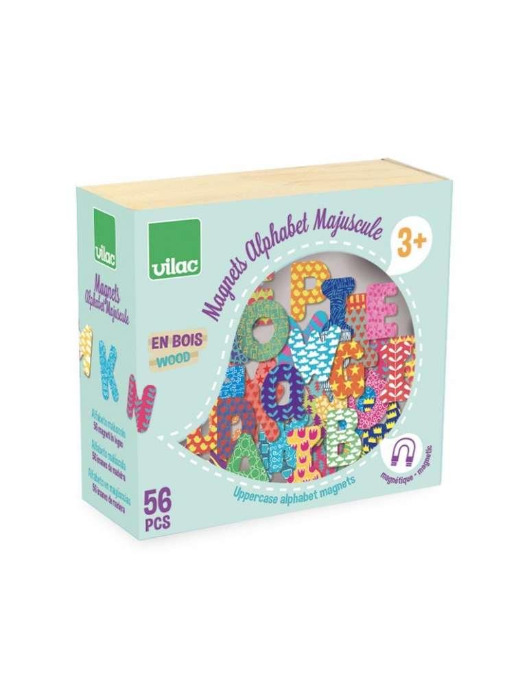 Magnets Alphabets majuscule 56 pièces - Vilac - Jouet en Bois -